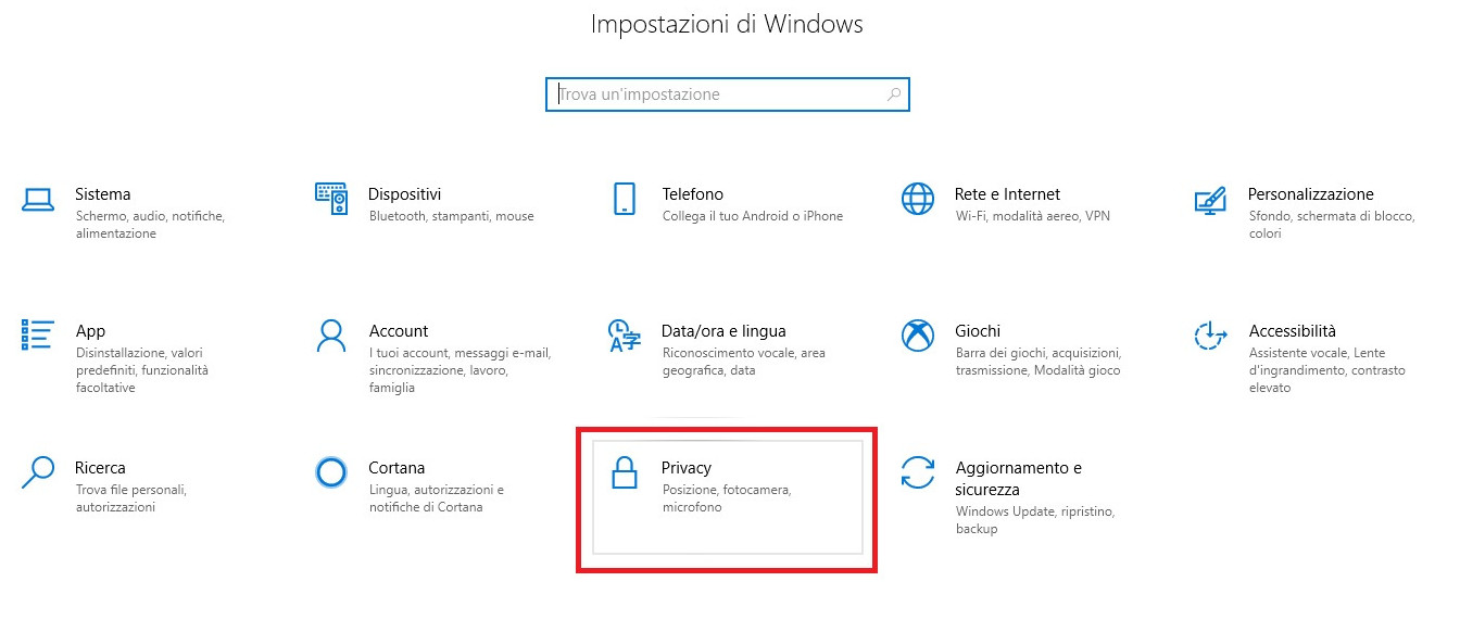 Impostazioni di Windows - Privacy