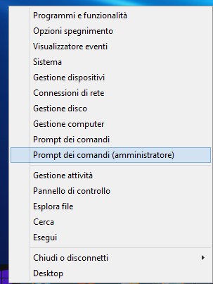 Fig. 2 In Windows 8.1, Tasto Destro sul simbolo WIN