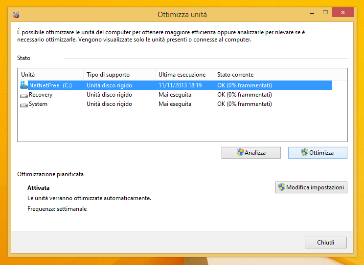 Ottimizza unità Windows 8 e 8.1