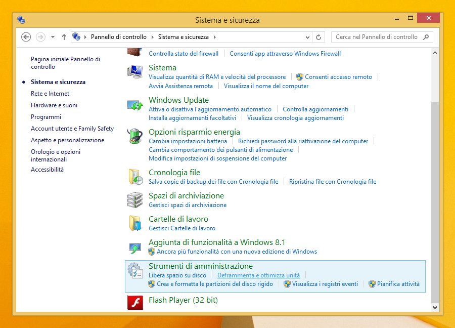 Sistema e sicurezza Windows 8 e 8.1